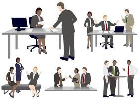 Conjunto de pessoas de negócios em estilo simples vetor