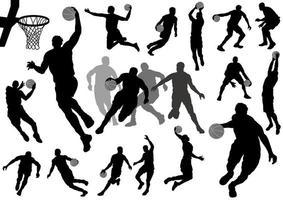 Conjunto de silhueta de jogadores de basquete vetor