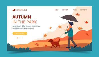 Homem passeando com o cachorro no outono. Modelo de página de destino