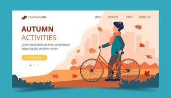 Homem com uma bicicleta no outono. Modelo de página de destino vetor