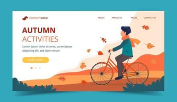 Homem andando de bicicleta no parque no outono. Modelo de página de destino vetor