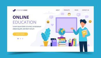 Página de destino da educação on-line vetor