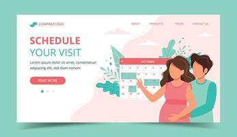 Casal agendar uma consulta com o calendário. Modelo de página de destino vetor