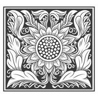 Padrão de folhas e girassol ornamentado