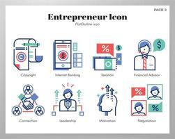 Pacote de estrutura de tópicos plana de ícones de empreendedor