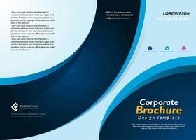 Folheto corporativo azul ondulado vetor