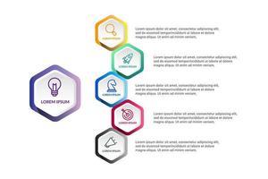 polígono infográfico vector design com etapas ou opções de ícones
