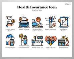 Ícones de seguro de saúde pacote de cores de linha vetor