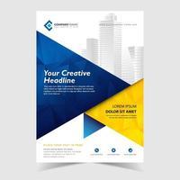 Modelo abstrato de panfleto com azul e amarelo poligonal abstrato vetor