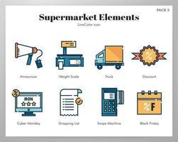 Elementos de supermercado linha pacote de cores