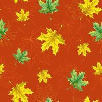 Sem costura padrão de Outono com folhas caídas de amarelo e verde vetor