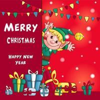 Feliz Natal e feliz ano novo cartão vetor
