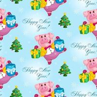 porco com padrão de presentes de Natal