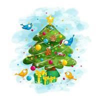 Pássaros engraçados decoram a árvore de Natal