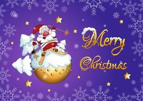 Papai Noel em esquis está de pé em um planeta nevado na bola de Natal
