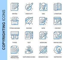 Conjunto de ícones relacionados de direitos autorais de linha fina azul
