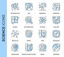 Conjunto de ícones relacionados da ciência fina linha azul