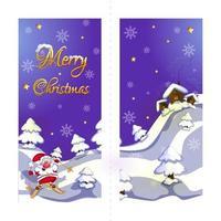 Cartão em dois sentidos feliz ano novo e feliz Natal