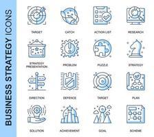 Conjunto de ícones relacionados da estratégia de negócios de linha fina azul vetor