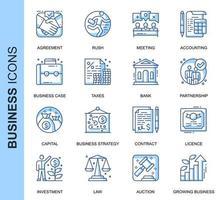 Conjunto de ícones relacionados a negócios de linha fina azul