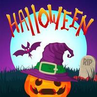 Lanterna de Halloween Jack o no cemitério vetor