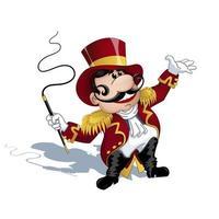 Um treinador com um bigode em um uniforme vermelho com dragonas douradas vetor
