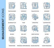Conjunto de ícones relacionados à gestão de pessoas de linha fina azul