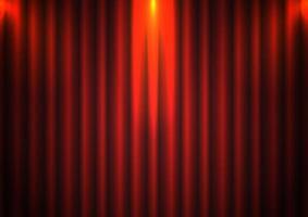 Fundo de cortina vermelha com holofotes no teatro vetor