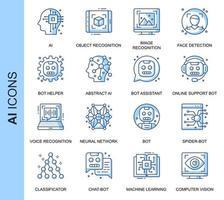 Conjunto de ícones relacionados da inteligência artificial de linha fina azul