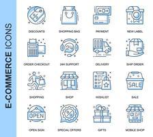 Conjunto de ícones relacionados de linha fina azul E-Commerce vetor