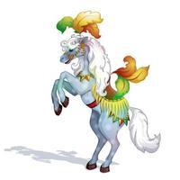 Um cavalo de circo, adornado com penas magníficas