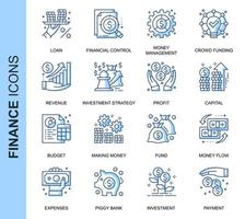 Conjunto de ícones relacionados de finanças de linha fina azul