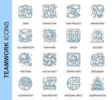 Conjunto de ícones relacionados do trabalho em equipe de linha fina azul