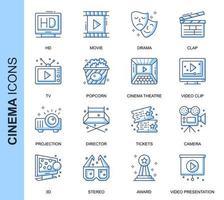 Conjunto de ícones relacionados do cinema linha fina azul