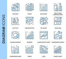 Conjunto de ícones relacionados do diagrama de linha fina azul