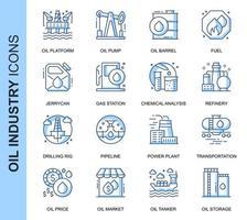 Conjunto de ícones relacionados da indústria de petróleo de linha fina azul