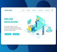 modelo de página de destino isométrica de educação on-line vetor