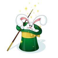 Um coelho branco bonito olha para o chapéu verde do mágico