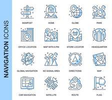 Conjunto de ícones relacionados à navegação de linha fina azul vetor