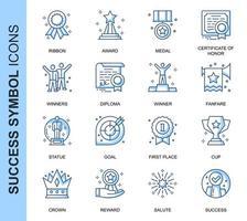 Conjunto de ícones relacionados ao sucesso da linha fina azul vetor