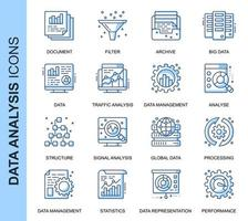 Conjunto de ícones relacionados da análise de dados de linha fina azul vetor