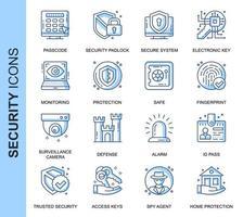 Conjunto de ícones relacionados à segurança de linha fina azul