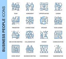 Conjunto de ícones relacionados de pessoas de negócios de linha fina azul