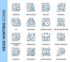 Cabeça de linha fina azul caça conjunto de ícones relacionados
