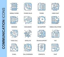 Conjunto de ícones relacionados de comunicação de linha fina azul