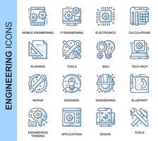 Conjunto de ícones relacionados de engenharia de linha fina azul vetor