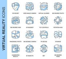 Conjunto de ícones relacionados da realidade virtual de linha fina azul vetor