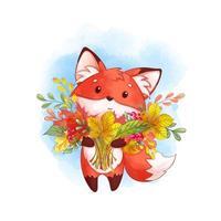 raposa com um grande buquê de folhas caídas