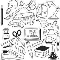 Doodles de volta à escola vetor