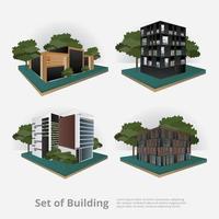 Ilustração isométrica de edifício moderno da cidade